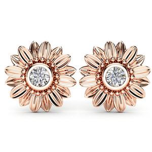 CZ Taş Küpe Moda Takı Kristal Saplama Küpe Kadınlar Için Bijoux Altın Gümüş Renk Ayçiçeği Bildirimi Küpe Yeni