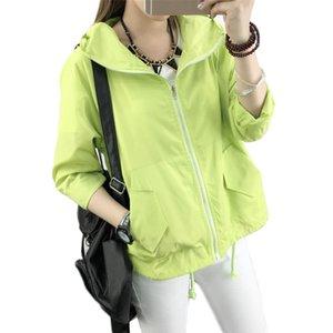 Couples hooded jacket 2020 spring summer new black red short loose women zipper pockets long sleeve turtleneck cargo coats LR762