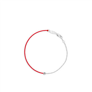 Fashion s925 sterling silver transfer beads zircon red rope bracelet ladies personality simple hand-woven bracelet 6-JL4011