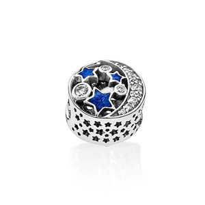 Wholesale-Night Sky Charm Beads 925 Sterling Silver CZ Diamond with original box for Pandora jewelry DIY bracelet beaded