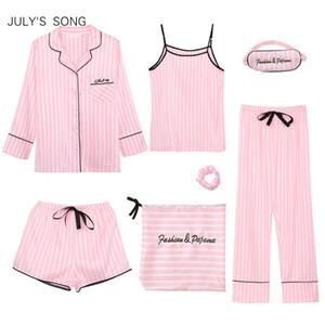 Canción de julio Rosa Conjuntos de pijamas de 7 piezas para mujer Pijamas de rayas de seda de emulación Conjuntos de ropa de dormir para mujer Primavera Verano Otoño Ropa de hogar Y19071901