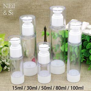 Free Shipping 15m 30ml 50ml 80ml 100ml Plastic Airless Pump Bottle White Cosmetic Eye Cream Essence Lotion Press Bottles