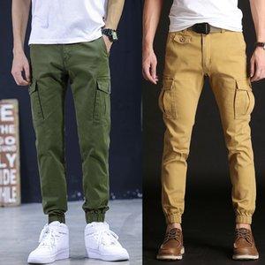 feitong Men's Cool multi style Summer Hot Leisure European Nightclub style luxury denim Pants Multi-Pocket Spring Overalls#g46