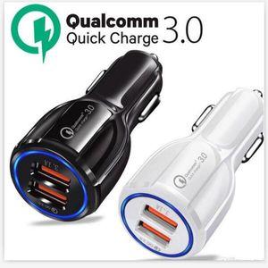 QC 3.0 Сертифицировано Быстрая Зарядка Dual 2 USB Порт Быстрое Автомобильное Зарядное Устройство Зарядки 36 Вт Аксессуар Автомобильный Адаптер для Мобильного Телефона 50 шт.