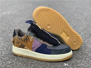 Alta Air Authentic Travis Scott x Force1 1 Cactus Baixo Jack Multi Color Muted Bronze Fossil Running Shoes Homens Mulheres Sports Sneaker Com Box