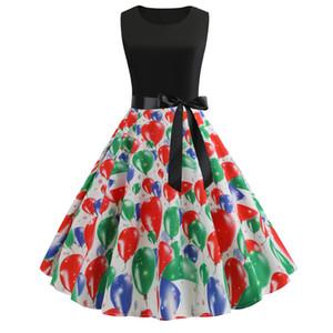 # JY13870 4 июля воздушного шар Printed O-образный вырез без рукавов боковой молнии Женской одежды причинной ретро А-линия маятника платья