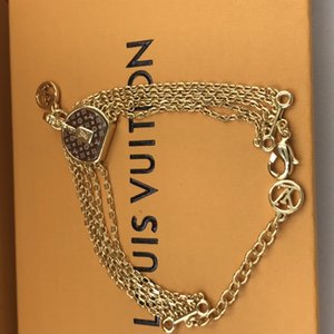 New Arrive Fashion Jewelry Sets Lady Women Titanium steel 18K Gold Chain Necklace Bracelet With V Letter Double Color Smooth Ta With box r20