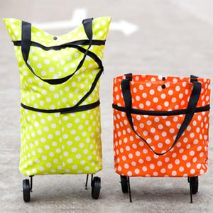 Grande capacité remorqueur panier Boutique sac ménage pliable Portable remorqueur sac mode fourre-tout supermarché sac à provisions avec 2 roues DBC VT0499