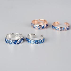 S925 joyería de plata esterlina par anillos estrellados noche anillos abiertos famosa paiting de la moda caliente especial