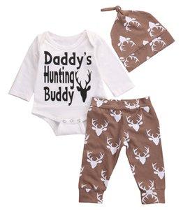 3 Pcs Adorável Criança Crianças Meninos Do Bebê Dos Miúdos Tops Bodysuit + Long Deer Calças + Chapéu Roupas Outfits Set 0-18 M Casual Roupas de Algodão