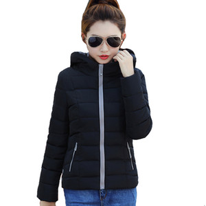Candy Color Hooded Winter Women Basic Jacket Cotton Padded Casaco Feminino Womens Slim Short Outerwear Womens Coat