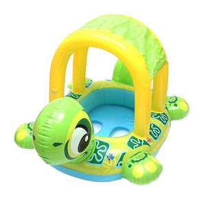 Portátil forma de tortuga de dibujos animados natación del bebé Juguete inflable Playa Piscina asiento flotante Barco de juguete de la piscina para el regalo de los niños
