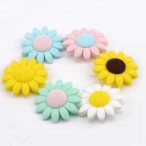 Food Grade Molar silicone Sunflower Flower silicone Ciondolo Gioielli fai da te accessori bambino Bite Beads