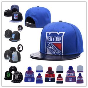 New York Rangers Hóquei No Gelo Gorros De Malha Bordado Ajustável Chapéu Bordado Snapback Caps Azul Branco Cinza Preto Costurado Chapéus