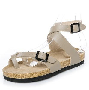Nova Marca Famosa Arizona Sandálias de Salto Plano Classcis Mulheres Sapatos Casuais Confortáveis Fivela Dupla Verão Top Qualidade Chinelo De Couro Genuíno