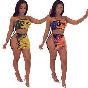 Sequin 2 Piece Set 2018 Women Sexy Bling Chain Lace Up Tube Top Mini Skirt Sets Hollow Nightclubs Party Cocktail Two Piece Dress Outfits