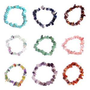 7 pulseras de Chakra para mujeres 19 colores Cristales de curación Chips de piedra natural Pulseras de hebra simple Pulseras Lazuli Reiki para mujeres