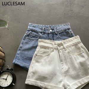 Coréens femmes court Jeans slim taille haute Jeans Casual Pantalon large jambe 2020 Summer Fashion Denim Shorts Blanc Bleu S-XL