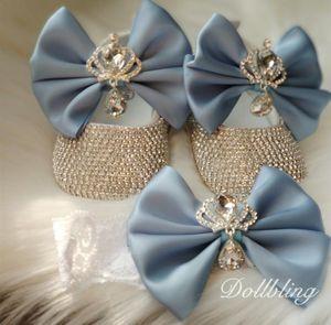Azul bebé absolutamente impresionante Zapatos Corona Jewery diamante perfecto para la ocasión embarazadas regalos especiales Todos Recuerdos