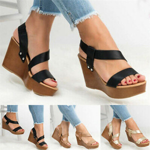 Kadın Sandal Siyah Yeni Stil Sandalet kadın Kama Topuk Basit Sandalet Hafif PU galoş kadın ayakkabı Yaz 2020