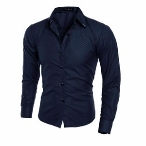 Hot 2019 Luxury Men's Slim Fit Solid Dress Shirt Male Long Sleeve Turn-down Collar Stylish Formal Business Shirt Plus Size