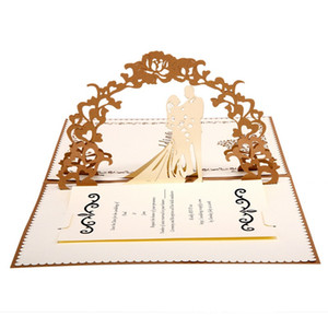 Wedding Invitation Cards 3D Pop Up Greeting Card Handmade Engagement Valentines Day Gift Card with Envelope