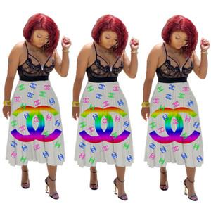das mulheres Clube Graffiti plissada saias coloridas Africano Imprimir elástico na cintura elegante A-Line swing longo saia de Midi