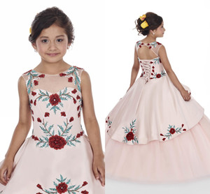 Abiti da pesca Pink Girls Dresses 2020 Princess Stampato Flora Sheer Neck Girl Dress Abito con ritorno in pizzo BC2478