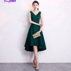 DongCMY nuovo arrivo 2020 breve Prom Dresses V-Neck Plus Size Mo colore verde Vestido Satin Abito da sera