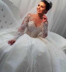 New Arabic Long Sleeve Wedding Dresses Sheer Neck Appliques Tulle Beads Bridal Gowns Covered Buttons Ball Gown Wedding Dress Plus Size