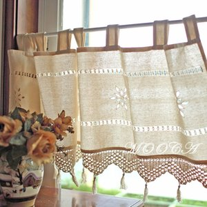 rustic cotton short kitchen curtain with crochet lace tassel 45x150cm decoration crochet curtain
