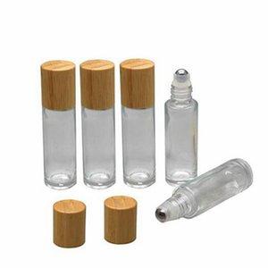 Bambou Couvercle Cap rouleau sur la balle en verre rouleau sur bouteille portable Essential bouteille d'huile en acier inoxydable Roller Ball 10ml RRA2540