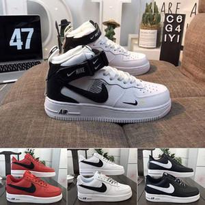 Nike air force 1 one off white 2019 Nuevos Hombres Mujeres Low Cut One 1 Zapatos casuales Blanco Negro Zapatos de skateboard Classic 1 07 Zapatillas de cuero Vlone Zapatos de