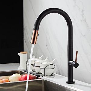 Nouvellement arrivés sortir robinet de cuisine en or rose et blanc évier Robinet Mélangeur à 360 degrés mélangeur de cuisine rotation robinets Robinet de cuisine T200424