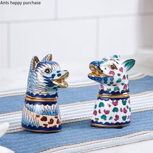 Holder all'ingrosso Casa Animal Toothpick Box cane di stile Cheetah stuzzicadenti Soggiorno Cotton fioc stuzzicadenti scatola con coperchio