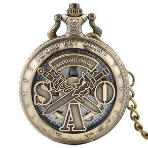Bronze Retro Oco Out Case Sword Art Online Relógio de Bolso Colar de Quartzo Fob Cadeia Relógio Analógico Presente Crianças reloj de bolsillo