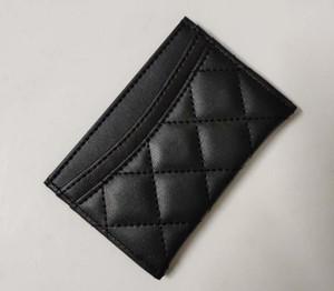 2020 titular do cartão cartões de crédito caso xadrez preto clássico preto 11.5X8cm acolchoado de couro Caviar Lambskin femininas pacote Cartão