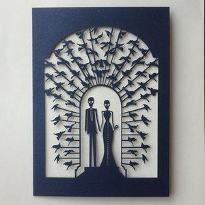 50 Pz / lotto Carta di invito matrimonio in pizzo squisita Festa di Halloween Avvolgono carte di benedizione di San Valentino Inviti per il primo giorno di aprile