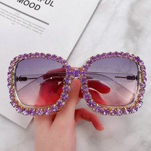 2020 Diamond sunglasses frame HBK Luxury Italian Brand Oversized Sun Glass Square Sunglasses Women Retro Diamond Big Frame Shades