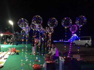 200pcs LED Balões Night Light Up Toys Limpar 3M Luzes Cordas Flasher Transparente Bobo Esferas do partido do balão Decoração CCA11729