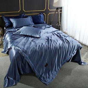 Jogo do fundamento Consolador Silk Duvet Cover Satin Colcha de seda de linho duplo Folha de cama azul Rainha Rei Bedclothes40