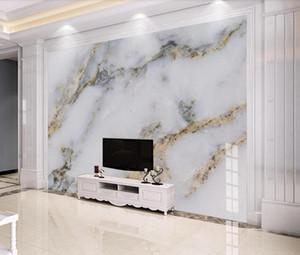 Moderna Marmo Bianco 3D Wallpaper Carta da parati per la TV di sfondo decorazione della parete Oro Carte da carta stampata per camera da letto