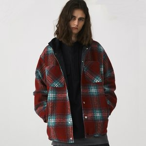 Recortada de mezcla de lana de franela a cuadros Escudo de Hip Hop de manga larga chaqueta acolchada de Calle
