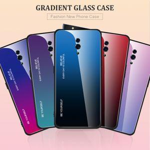 Gradient Glass Tempered Case para OPPO RX17 Neo Funda de silicona TPU Frame Hard Glass Back Cover para OPPO RX 17 Neo Funda a prueba de golpes