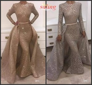 Abiti da sera 2018 Mermaid Abiti da sera del gioiello a maniche lunghe di disegno unico di sera abiti in pizzo con paillettes Perline Cristalli formali