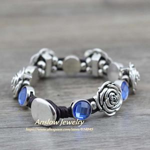 Anslow Atacado baratos Amizade moda jóias Vintage Rose Flores Retro Couro Pulseiras Dia dos Namorados presente LOW0530LB