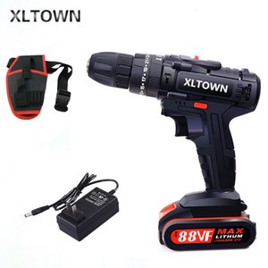 XLTOWN 21V Cordless Lithium Drill Multifunktions wiederaufladbare Elektroschrauber Haushalts Power Tools mit Schlagfunktion Electric Drill