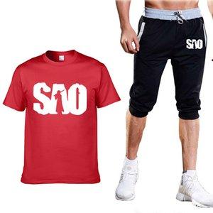 Летние мужские костюмы для аниме Sword Art Online SAO Printed Mens с коротким рукавом круглый вырез повседневная хлопчатобумажная мужская футболка+брюки костюм 2шт