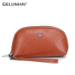 GELUNHAI nueva mano bolsos de embragues de Shell Las bolsas de teléfono móvil bolsa con cremallera de la muñeca larga suave de la PU billetera de cuero mujer pequeña parte