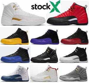 12 nouveaux inverse Université grippe jeu Dark Gold Concord Gris foncé OVO Blanc Hommes Chaussures de basket-ball de 12 ans éliminatoire French Blue sneakers avec la boîte